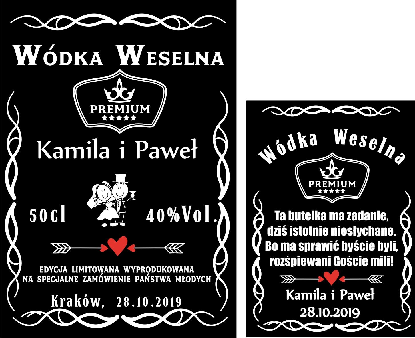 Etykiety Naklejki Wodke Weselna Alkohol Bimber Komplet